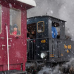 Steam train in snow